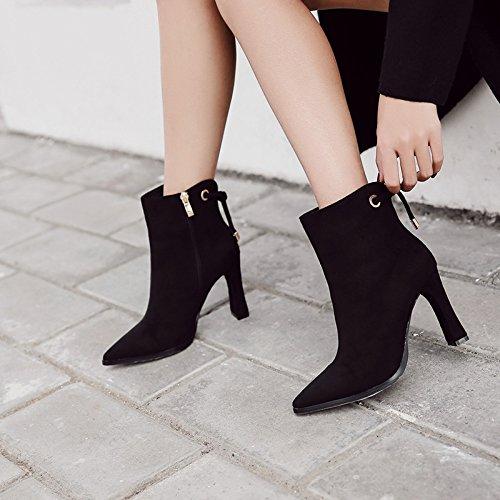 Scarpe raso da marea 39 punta a alta punta wild zip nero laterale scarpe donna con qnqrwzH