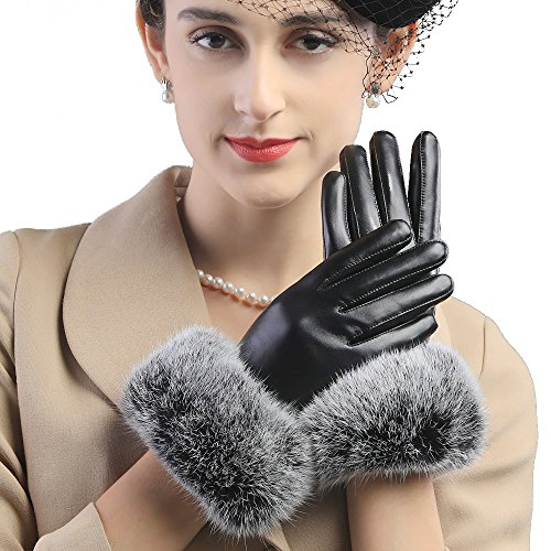 Borgasets Genuine Soft Nappa Leather Gift Gloves with 101% Rabbit Fur Cuff Large Black