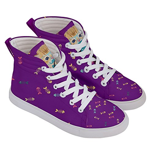 CowCow Womens Whisker Kitty Cat Comfy Hi-Top Skate Sneaker, US5 - US10.5 Violet