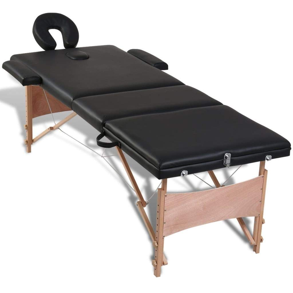 Black Foldable Massage Table 3 Zones with Wooden Frame by Youwend