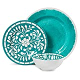 Dinnerware Set for 4 - Melamine 12 Piece Dinner Dishes Set for Camping Use, Lightweight, Dishwasher Safe, Green
