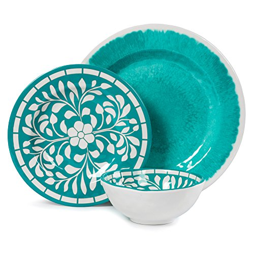 Teal Dinnerware Set – Melamine 12 Piece Dinner Dishes Set for Camping Use, Lightweight