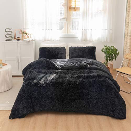 Smoofy Shaggy Comforter Set, Fluffy Comforter Set Queen/Full, 3 Piece Comforter, Ultra Soft Plush & Velvet Flannel…