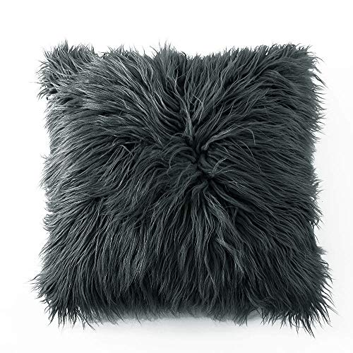 (Ojia Deluxe Home Decorative Super Soft Plush Mongolian Faux Fur Throw Pillow Cover Cushion Case (20 x 20 Inch, Dark Grey))