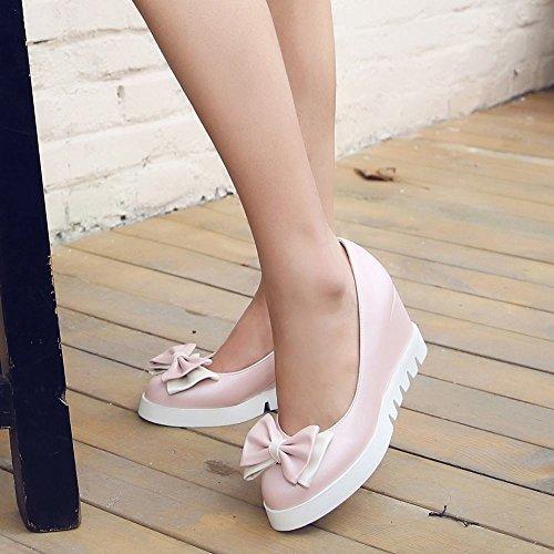 Mee Shoes Damen süß Keilabsatz mit Schleife Pumps Pink
