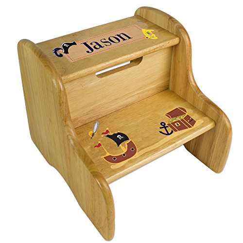 Personalized Pirate Natural Two Step Stool by MyBambino (Image #1)