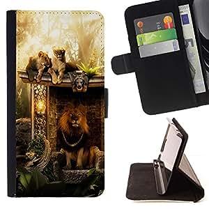 Momo Phone Case / Flip Funda de Cuero Case Cover - Majestic rey de la selva León - Sony Xperia M5