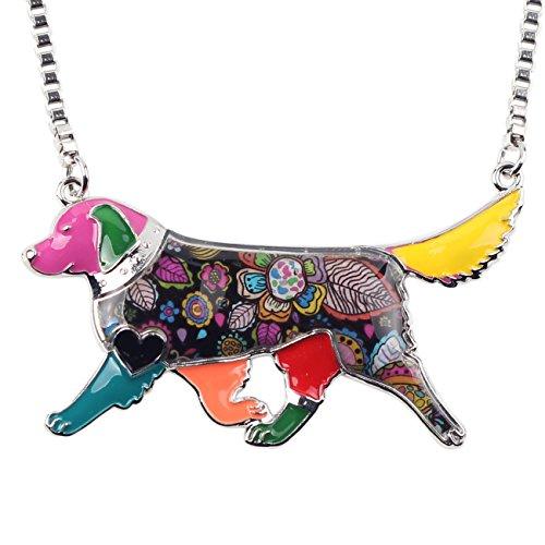 (BONSNY Love Pets Enamel Zinc Alloy Golden Retriever Necklace Dog Animal Pendant Women Jewelry 24