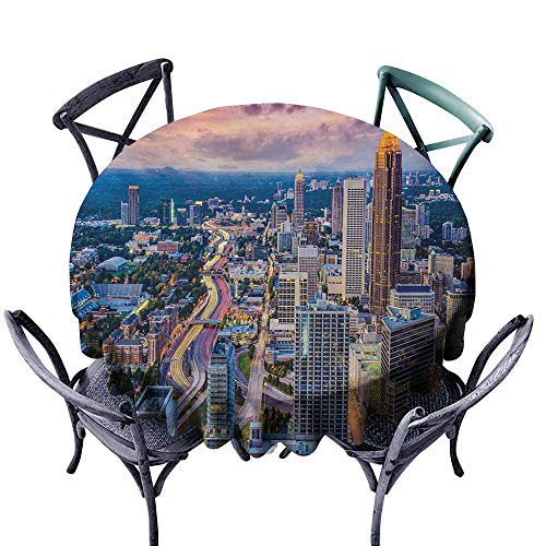 VIVIDX Stain Round Tablecloth,Modern,Atlanta City Skyline at Sunset with Hazy Syk Georgia Town American View,Table Cover for Kitchen Dinning Tabletop Decoratio,70 INCH,Baby Pink Blue Silver