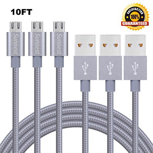 Sunnest Micro USB Charger, 3pcs (10ft/3M) Braided Nylon Cable High Speed USB 2.0 A Male to Micro B Charging Cord Universal for Samsung, HTC, Motorola, Nokia, Android, and More(Grey)