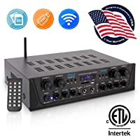 500W Karaoke Wireless Bluetooth Amplifier – 4 Channel Stereo Audio Home Theater Speaker Sound Power Receiver w/ AUX IN, FM, RCA Subwoofer Speakers OUT, USB, Microphone IN w/ Echo – Pyle PTA44BT