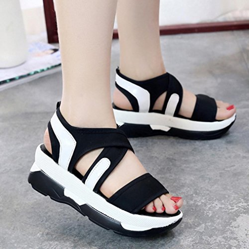 Jamicy Women Casual Breathable Sport Wedges Platform Sandals Shoes Black ryMYCPL