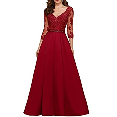 Fashionbride Womens Lace V-Neck Prom Dresses Long Sleeves Formal Evening Gowns F616BG02