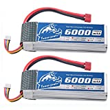 YoWoo 2 Packs 4S 14.8V Lipo Battery 6000mAh 50C Max 100C with Deans T Connector for RC Drone FPV UAV Helicopter Quadcopter(6.1x1.89x1.42inch,1.29lb)