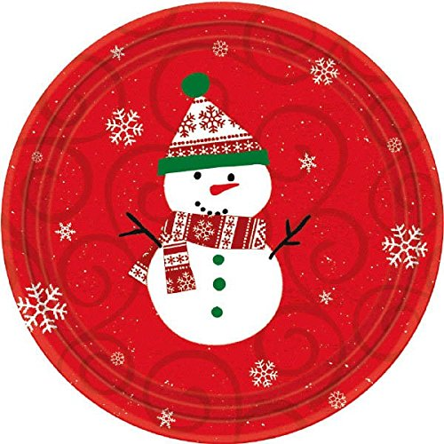 (Christmas Snowman Round Red Plates, 12 Ct. | Party)