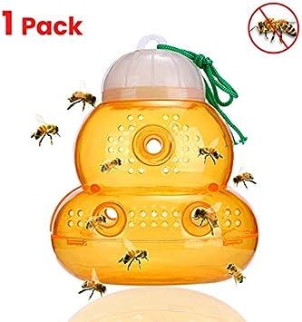 RENNICOCO Amarillo Bumble Bee Jacket Colector de Colmena Plástico No tóxico Miel Maceta Colgante Caja de Insectos Insectario Abeja Herramientas 1/2 Piezas Avispas Florero Trampa