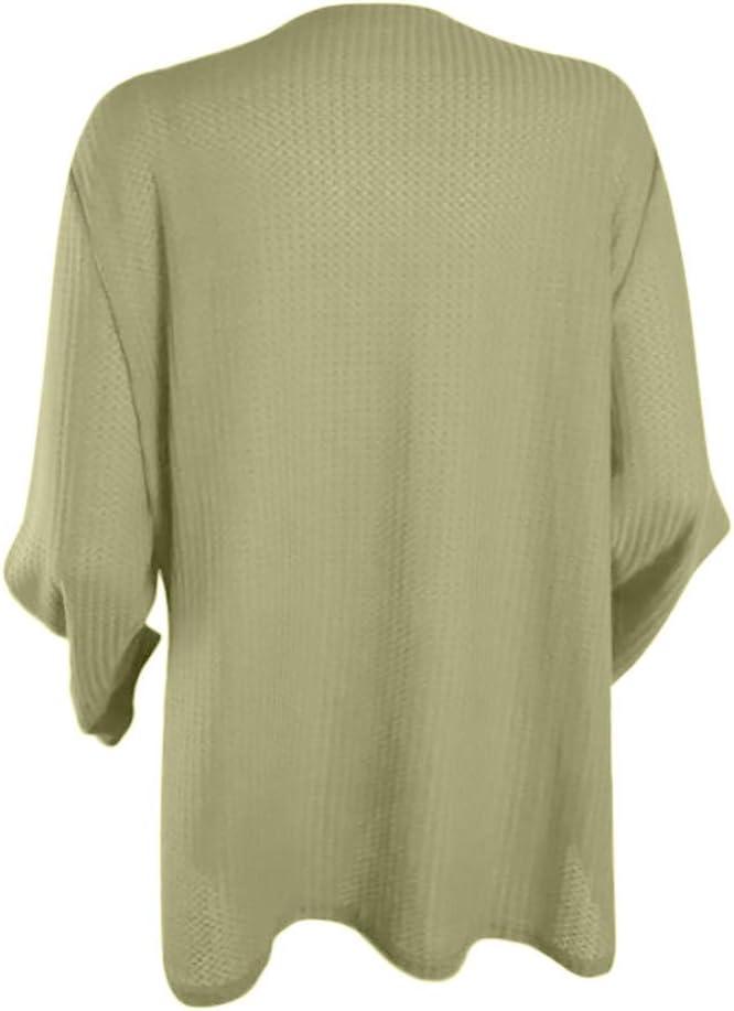 Womens Casual Long Sleeve Knot Waffle Knit Tunic Blouse Cute Shirts Tops Green