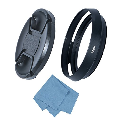 SIOTI Camera Tilted Vented Metal Lens Hood with Cleaning Cloth and Lens Cap for Leica/Fuji/Nikon/Canon/Samsung Standard Thread Lens(77mm)