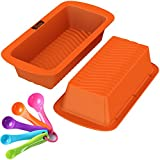 Loaf Pans - Set of 2 - 100% Pure Food Grade Nonstick Professional Silicone Bread and Cake Trays + Tablespoon Measuring Spoons Set
