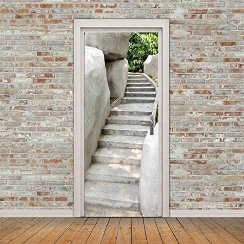 Etiqueta De La Puerta Escalera Blanca Para Estacionar Papel De Pared Etiqueta De La Pared Calcomanía Decoración De La Puerta Del Hogar 77 * 200cm: Amazon.es: Bricolaje y herramientas