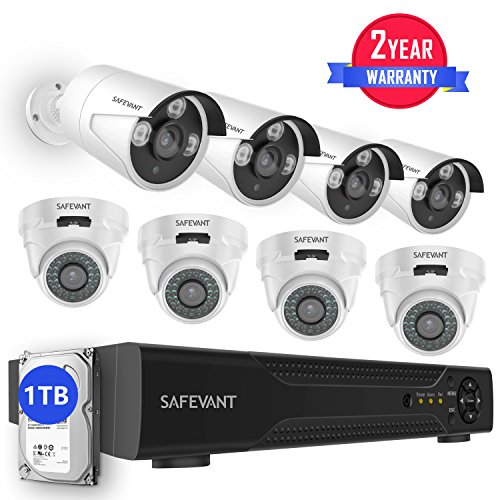 [2019 New] Home Security Camera System Outdoor,Safevant 8CH 5-in-1 HD Security Camera System(1TB Hard Drive),4pcs Dome+ 4pcs Bullet HD Indoor&Outdoor Security Cameras,Smartphone,PC Easy Remote Access