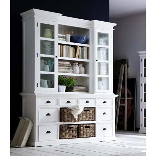 Library Hutch (Halifax Mahogany Library or Kitchen Hutch Cabinet with Drawers and Glass Vitrines, White Distressed Finish)