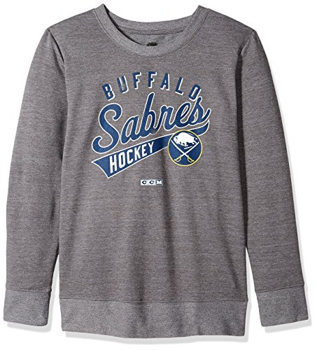 Buffalo Sabres Womens Hoody Sweatshirt - adidas NHL Buffalo Sabres Open Season Too Comfy Crew Shirt, X-Large, Graphite