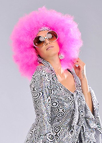 Fancy Dress Afro Wigs (Womens 70s Mega Huge Pink Afro Wig)