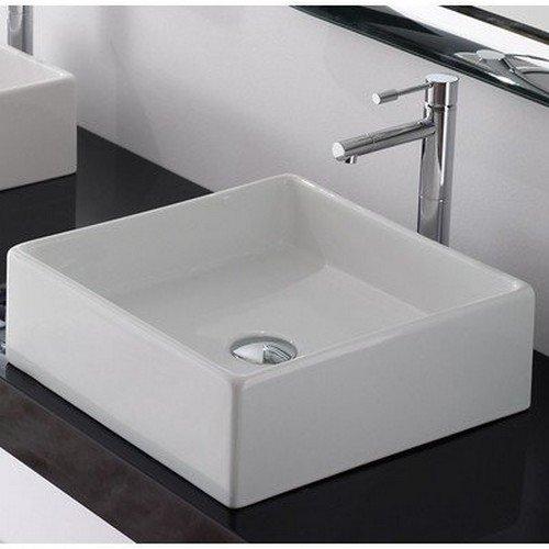 Scarabeo 8031/40-No Hole-637509855116 Square Washbasin Vessel, White