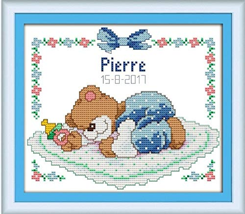 Sleeping Baby Bear Cross Stitch kit Cartoon Animal Birth Record boy Girl aida 14st Stitches Embroidery DIY Handmade Needlework - (Color: Blue Bear, Cross Stitch Fabric CT Number: 11ct unprint Canvas)