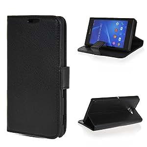 Wabbrye [Black] Cartera Funda protectora cuero sintético Wallet Cover Con Soporte Plegable Carcasa Protección Case para Sony Xperia M2