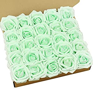 N&T NIETING Artificial Flowers Roses, 25pcs Real Touch Artificial Foam Rose with Stem for Cake Decoration DIY, Wedding Bridesmaid Bridal Bouquets Centerpieces, Party Decoration, Home Display