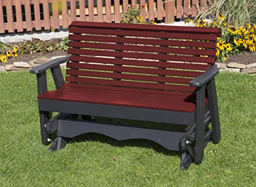 Ecommersify Inc 4FT-Cherrywood-Poly Lumber ROLL Back Porch Glider Heavy Duty Everlasting PolyTuf HDPE – Made in USA – Amish Crafted
