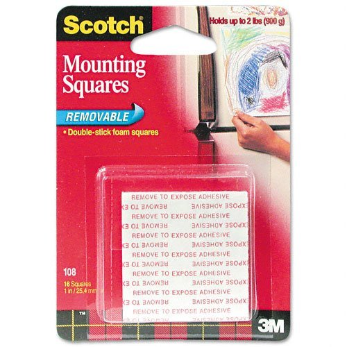 Scotch : Precut Foam Mounting 1 Squares, Double-Sided, Removable, 16 Squares/pack -:- Sold as 2 Packs of - 16 - / - Total of 32 - Foam Cut Mounting Pre