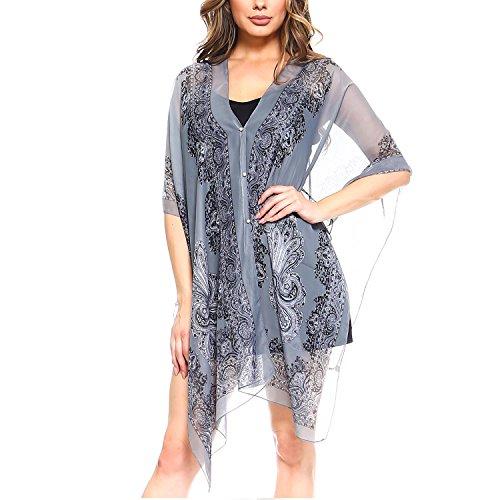 - Fashionazzle Women's Summer Beach Wear Cover up Swimwear Beach Dress Top (One Size, CT01-Grey)
