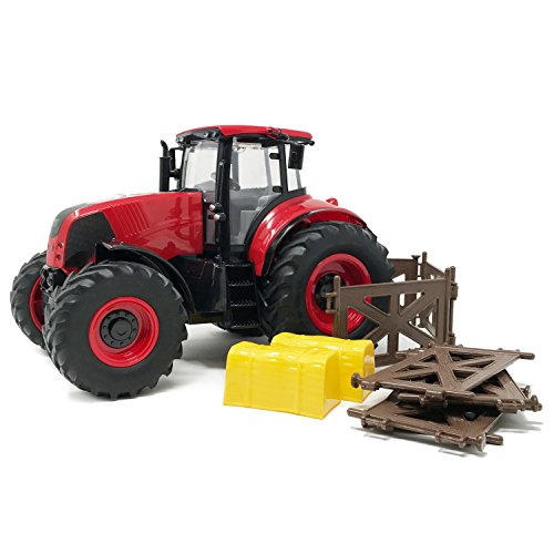 Farm Action Toys (Boley Red Farm Tractor - Farm Toy with Red Tractor Toy - Lights Up and Makes Sounds)