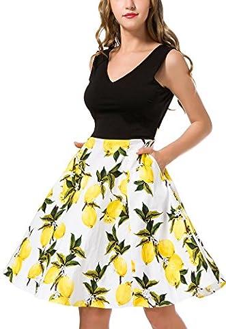 Women's Casual Flare Floral Dresses V Neck Sleeveless Party Mini Dress Lemon L - Flare Mini Dress