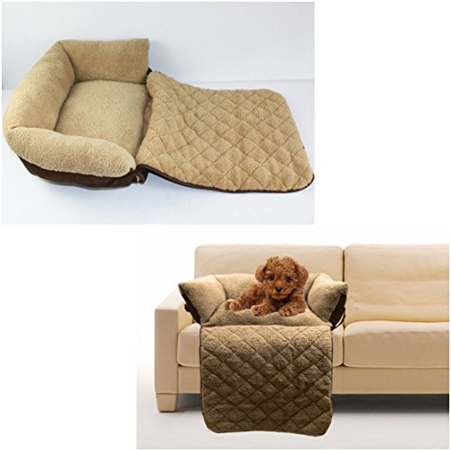 1Pc Uppermost Popular Pet Sofa Bed Size L Soft Material Dog Couch Warm Blanket Color Brown