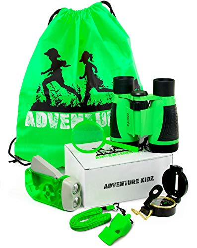 Adventure Kidz - Outdoor Exploration Kit, Children's Toy Binoculars, Flashlight, Compass, Fox Whistle, Magnifying Glass, Backpack. Great Kids Gift Set for Camping, Hiking, Educational, Pretend Play. (Belt Kids Explorer)