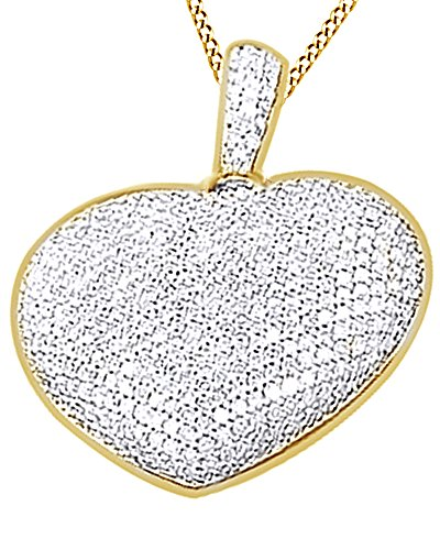 (0.92CT White Diamond Heart Hip Hop Puffed Necklace Pendant 14K Solid Yellow Gold)