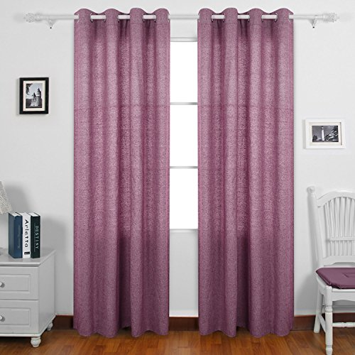 Deconovo Curtain Pair Solid Recycled Cotton Curtains Grommet Window 95 Dining Room 52 W X L Maroon 2 Panels