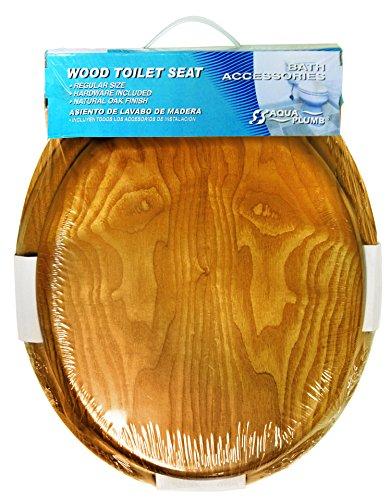 Aqua Plumb Aqua Plumb CTS100OAKP Round Wood Toilet Seat with Plastic Hinge - Oak (Oak Plastic Wood)