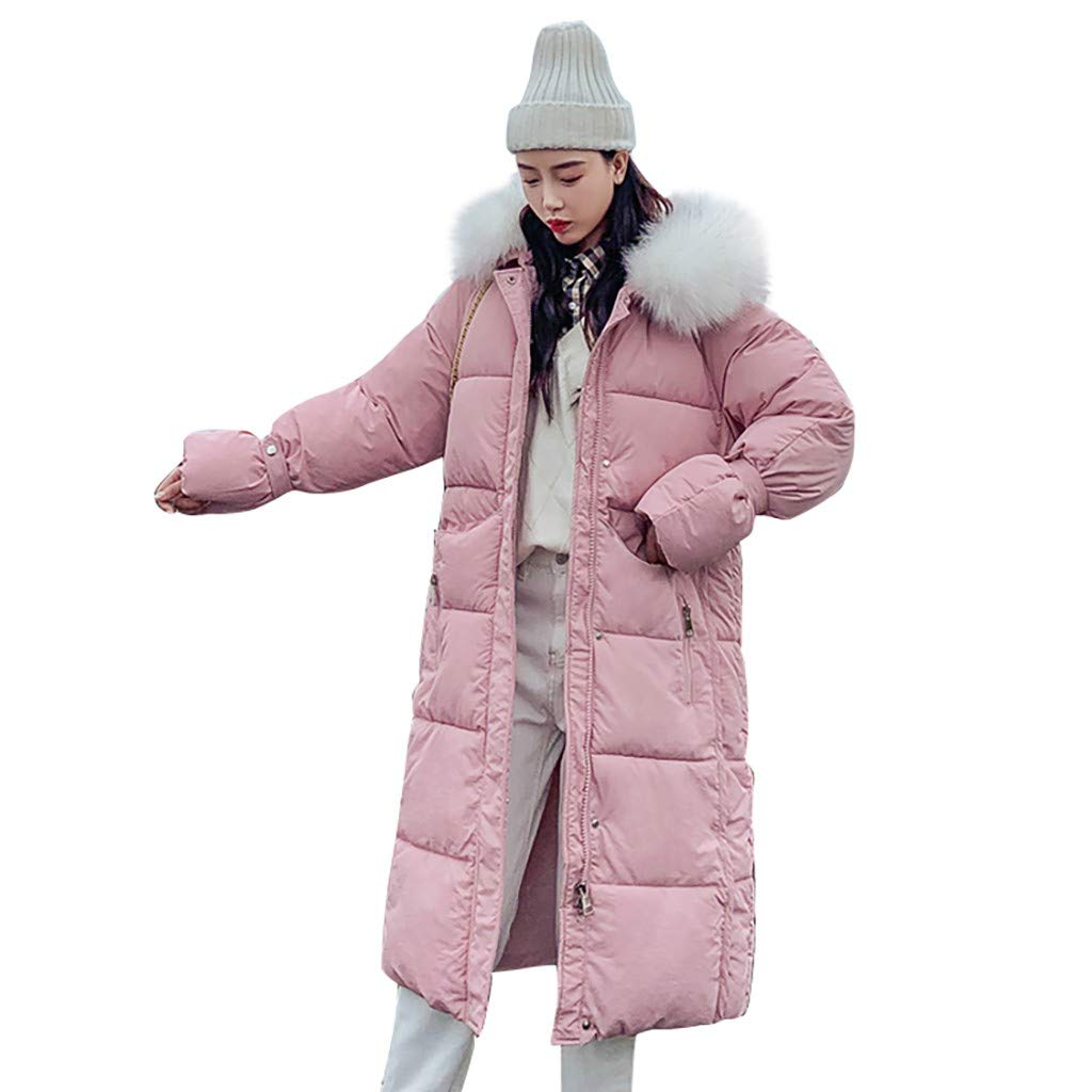 Fashionhe Plus Overcoat Down Jacket Long Sleeve Hooded Outerwear Cotton-Padded Pockets Bandage Warm Coats(Pink.M) by Fashionhe