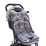 infant car seat cushion covers - Famyfirst Baby Stroller Cushion Pad, Cotton Seat Pad Liner for Stroller Car Seat Breathable Air Mesh Infant High Chair Seat Cushion Liner Mat Pad Cover Protector (Grey Star)