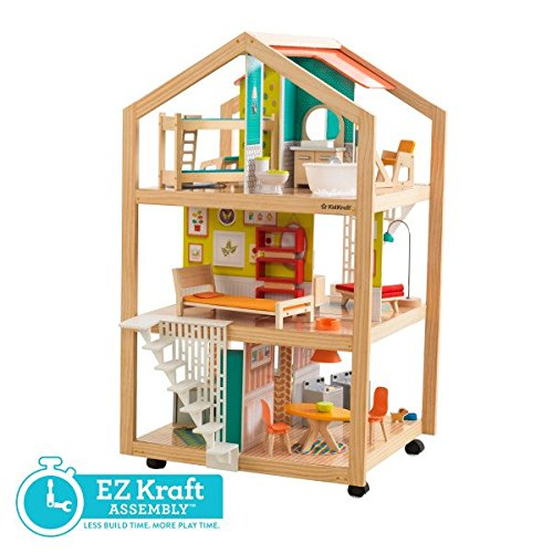51u6AJG55nL - KidKraft So Chic Dollhouse with Furniture