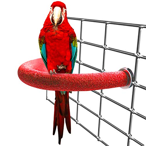 Bac-kitchen U Shape Bird Perch Stand Toy, Wood Parrot Stand Platform Colorful Sand Paw Grinding Stick Cage Accessories Exercise Toys for Cockatiel Conure Budgies Parakeet (Set 1)