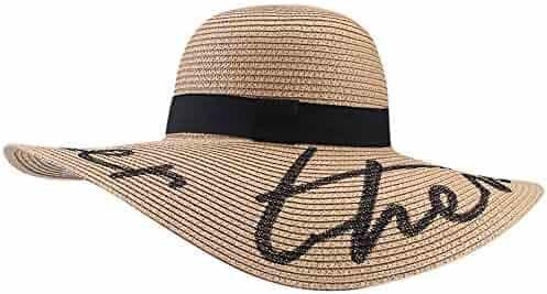 58d3e4de Women's Wide Brim Sun Beach Hat Braided Bucket with Wind Lanyard UPF 50+