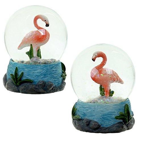 Palla di vetro con Acqua con Fenicottero Flamingo
