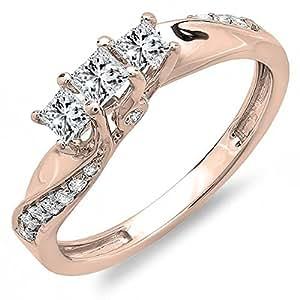 0.50 Carat (ctw) 10K Rose Gold Princess & Round Diamond 3 Stone Engagement Ring 1/2 CT (Size 4)
