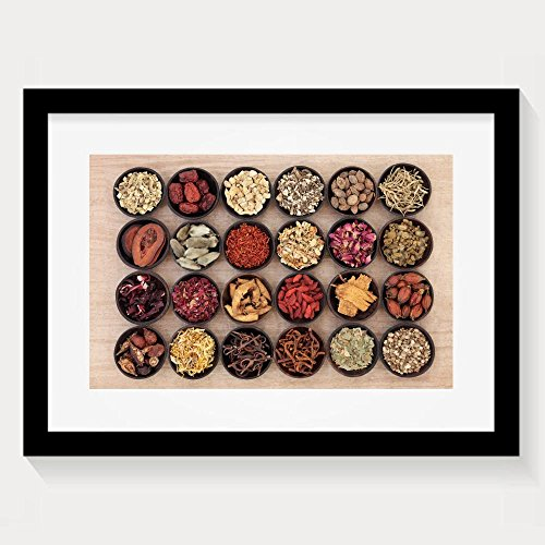 ZhiqianDF New Style Large Chinese Herbal Medicine Selection In Wooden Bowls Over Papyrus Framed Wall Art Prints (Chinese Brush Painting Handbook)